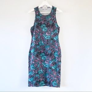 WAYF floral midi bodycon dress